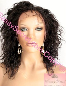Remy Full Lace wig, Hair length ten inches, curly and silky, Color number 1B