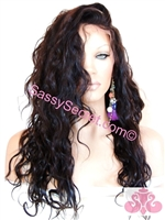 Wavy Glueless Full lace wig, Spanish wave curl pattern, color #1, 18 inch length, Sabrena by Sassy Secret