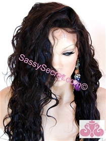 Wavy Glueless Full lace wig, Spanish wave curl pattern, color 1 or #1B, 18 inch length, Sabrena by Sassy Secret