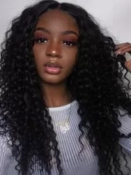 Glueless Full lace wig, deep curl, color 1B or 4.