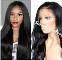 Glueless full lace wigs, 18 inch length, straight, yaki hair texture, color 1, 1B or 3.