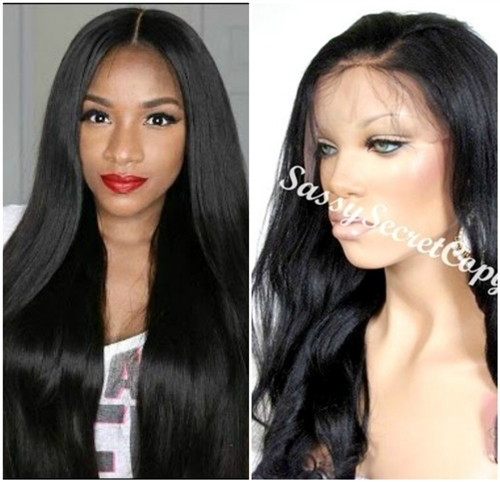 Glueless full lace wigs, 18 inch length, straight, yaki hair texture, color 1 or 1B