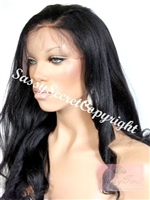 Glueless full lace wigs, 18 inch length, straight, yaki hair texture, color 1B