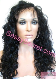 18 inch Remy lace front wig, glueless lace wig, color 1 1b or 2, loose Spanish curl