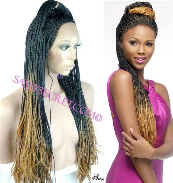 Ombre Box Braided Lace Wig Micro Braid Lace Wig Sassy Secret