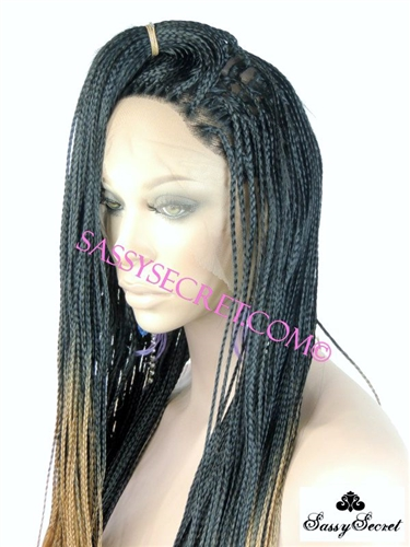 Ombre Box Braided Lace Wig Micro Braid Lace Wig Sassy