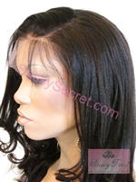 Fiona is a 14 inch Remy Full Lace Wig with a Light Yaki texture in color 1B