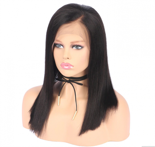Light Yaki Glueless lace wig, lace wig with layers, color 1b, kIMORA by Sassy Secret