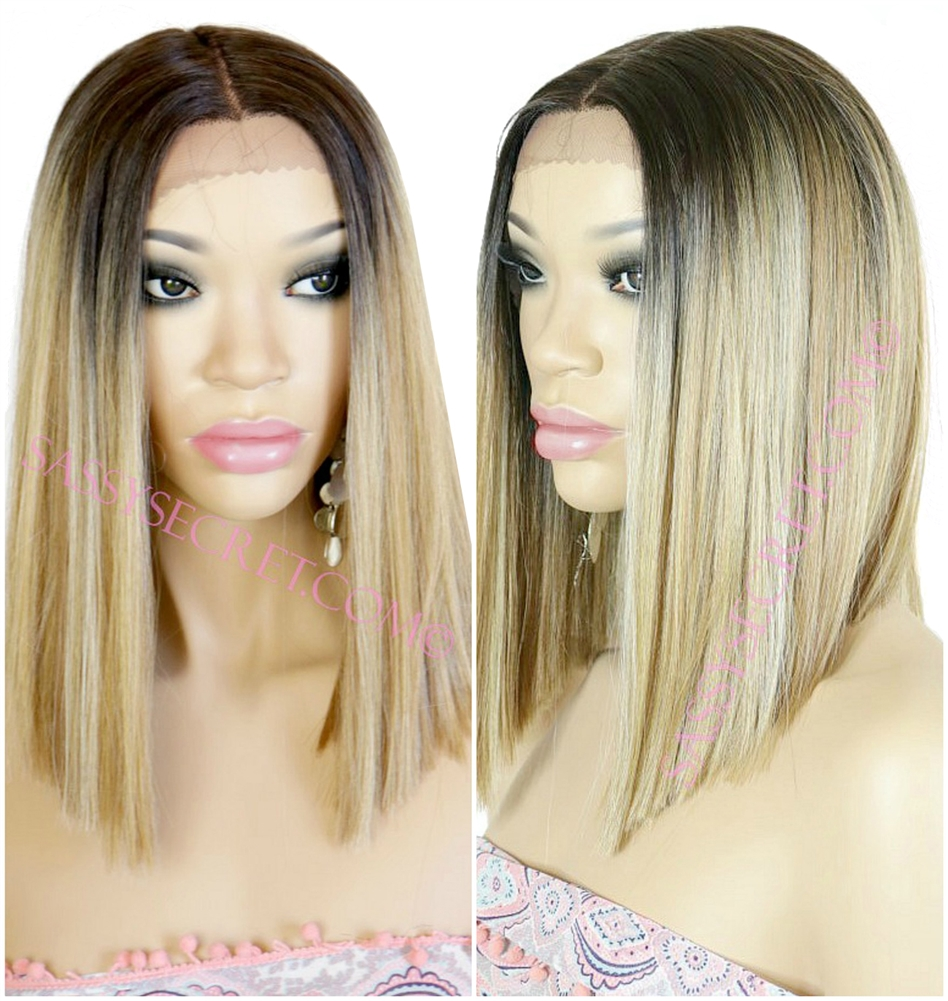 Beautiful Blunt Bob Pastel Colored Lace Wig With A Middle