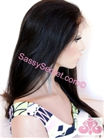 "Fine Yaki Glueless lace wig, lace wig with layers, 18"" length, color 1b, Alyssa by Sassy Secret"