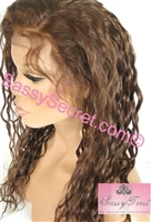 "Glueless Full lace wig, 16"" length, colors 1b & 4, silky wet'n wave curl pattern"