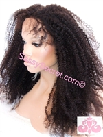 Kinky Glueless Full lace wig, 18 inch length, kinky hair texture, glueless cap, color 1b, Kiki by Sassy Secret