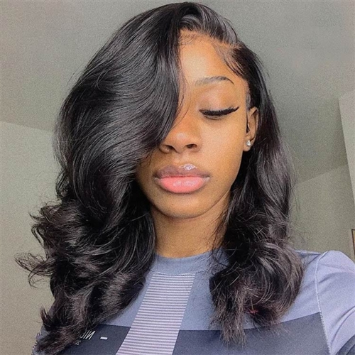 silk top lace wig, color 1, silky texture, body curl pattern, Chili by Sassy Secret