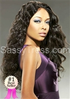 "Malaysian Virgin Lace Wig, 22"" length, natural dark color, silky hair with curls, Trinity by Sassy Secret"