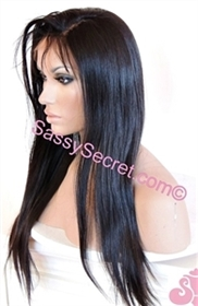 "Kim Kardashian Glueless Human hair wig, 22"" length, soft body curl, color 1b, Leanna by Sassy Secret"