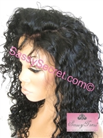 "Glueless Full lace wig, 20"" silky hair, Brazilian curl pattern, color 1b, Francesca by Sassy Secret"