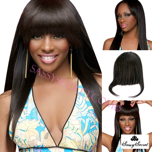 Light Yaki African American Clip In Bangs Fringe For Black Women