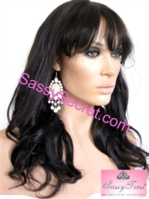 Remy Lace front wig with bangs, 18 inch length, silky hair texture, colors 1b or 4, Brandy by Sassy Secret