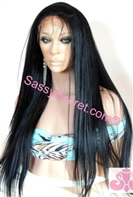 Remy lace front wig, 20 inch length, colors: 1, 1b, 2, 4, fine yaki hair texture, straight